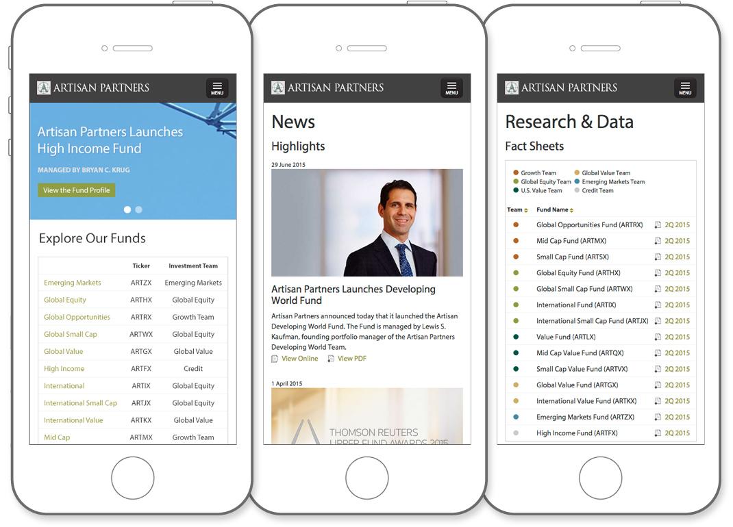 Artisan Partners website mobile views