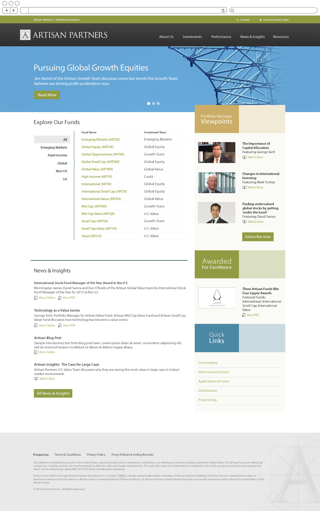 Artisan Partners home page