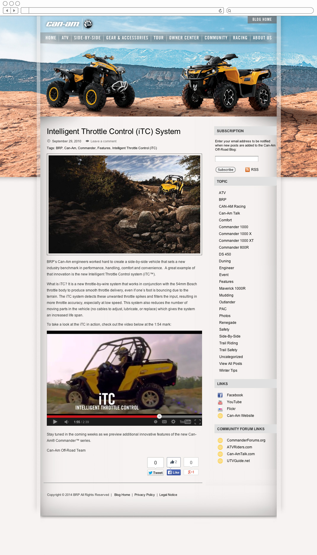 Can-Am Off-Road blog article page