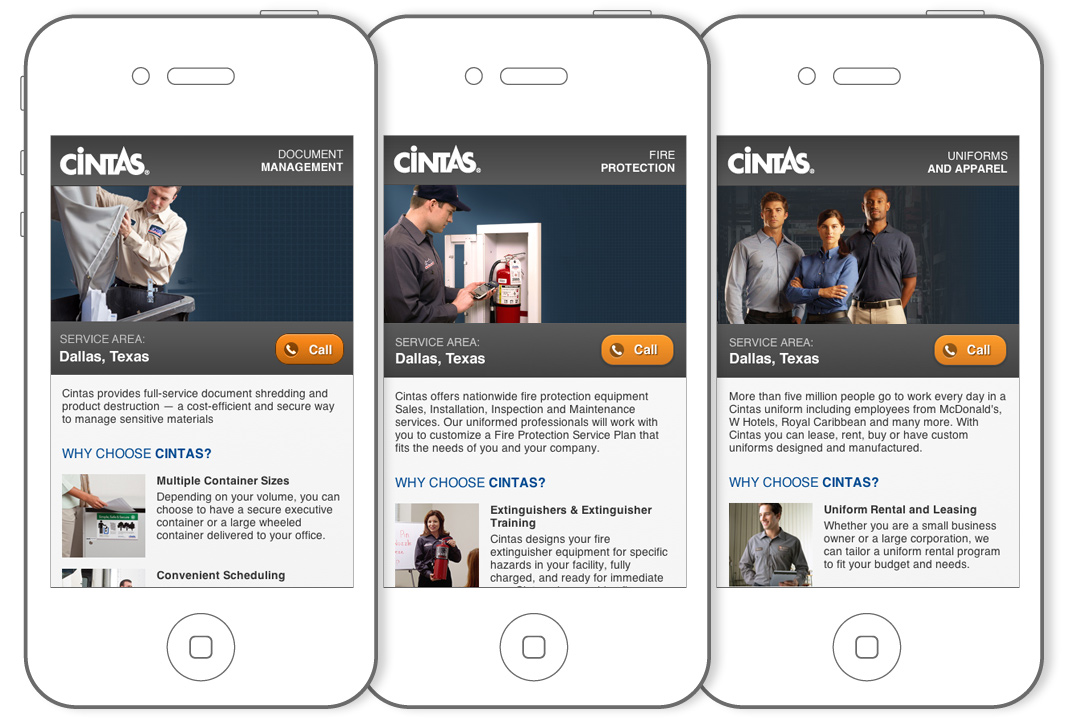 Cintas mobile landing pages