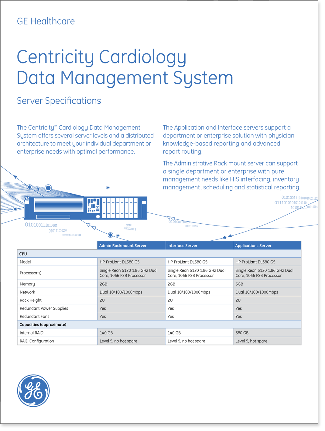 Centricity Cardiology data management system specification sheet