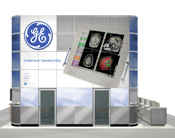 Info booth rendering - left side graphics