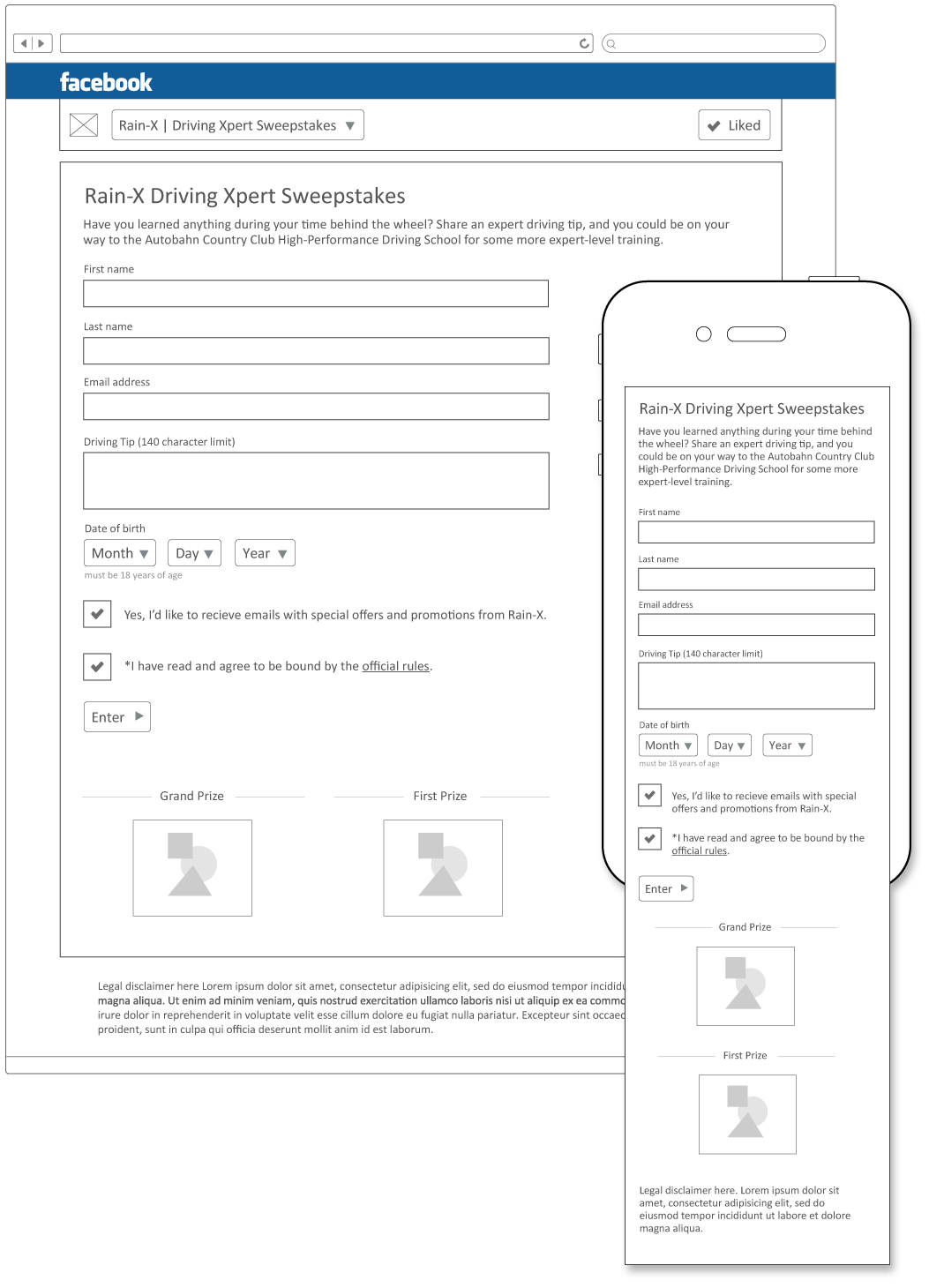 Entry form wireframes