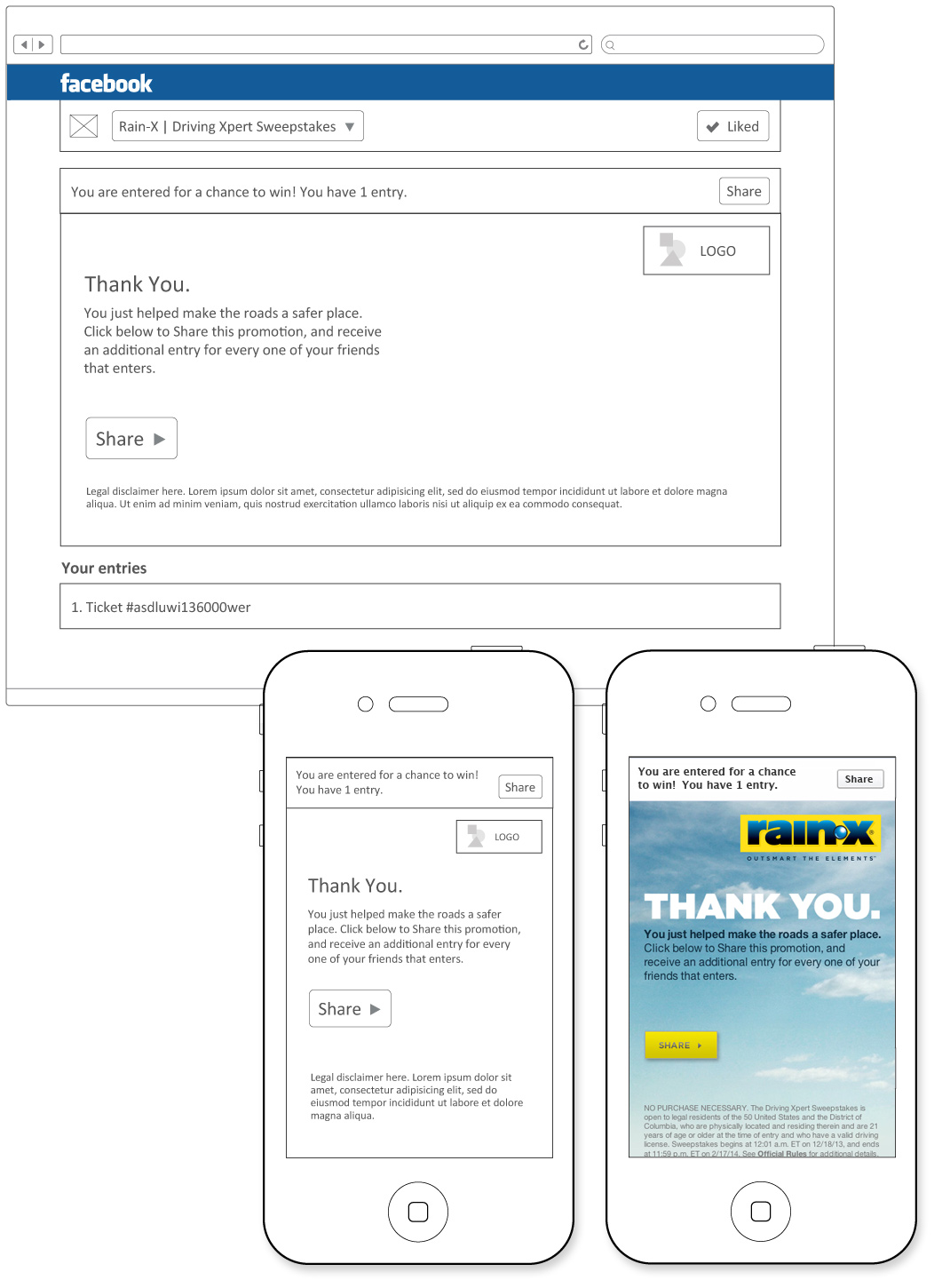 Confirmation page graphics and wireframes