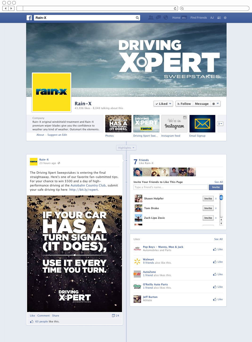 Rain-X Facebook timeline page with driving tip
