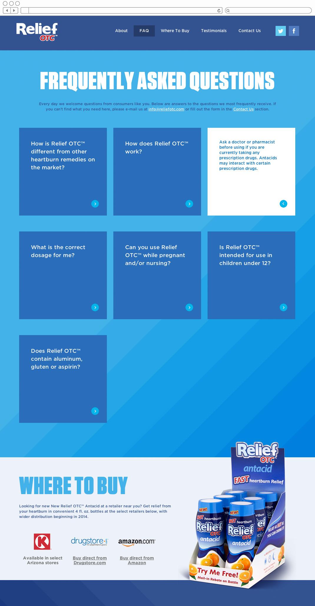 Relief OTC website