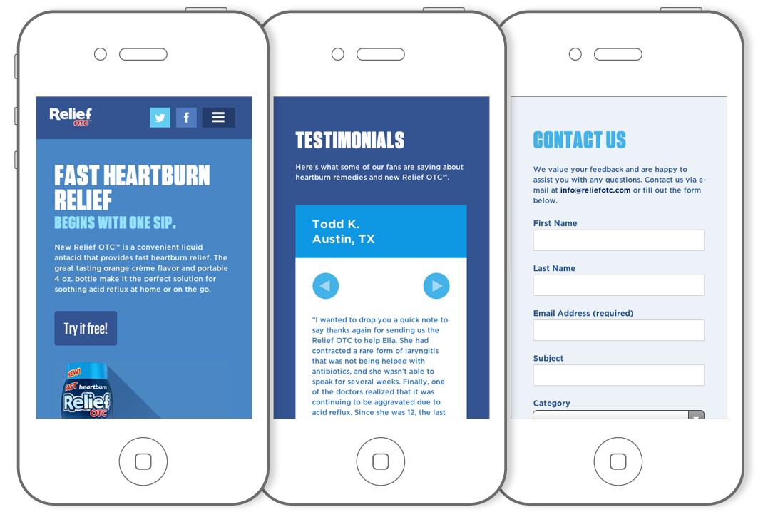 Relief OTC website on smartphone