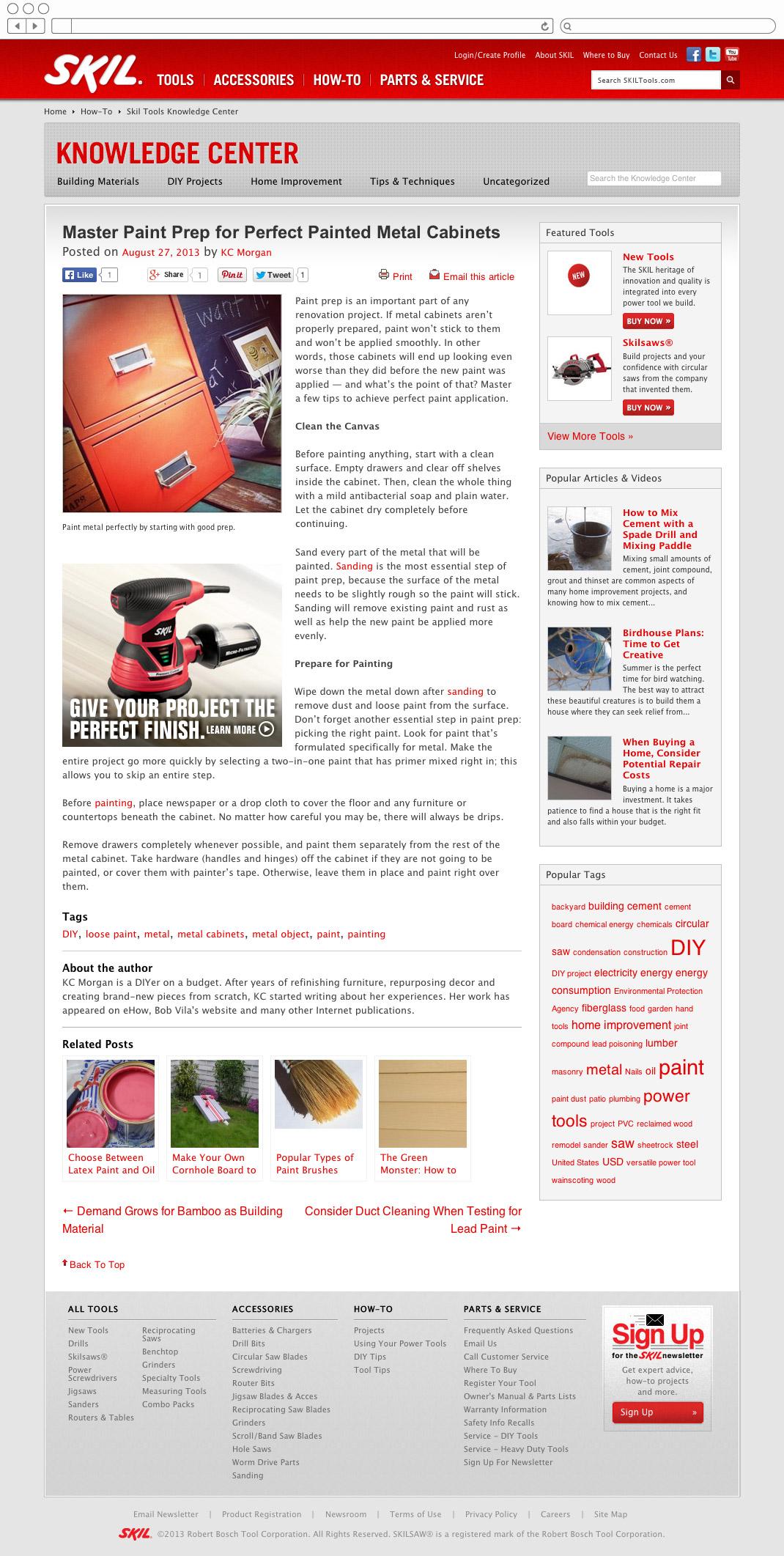 Skil Tools - DIY blog article page