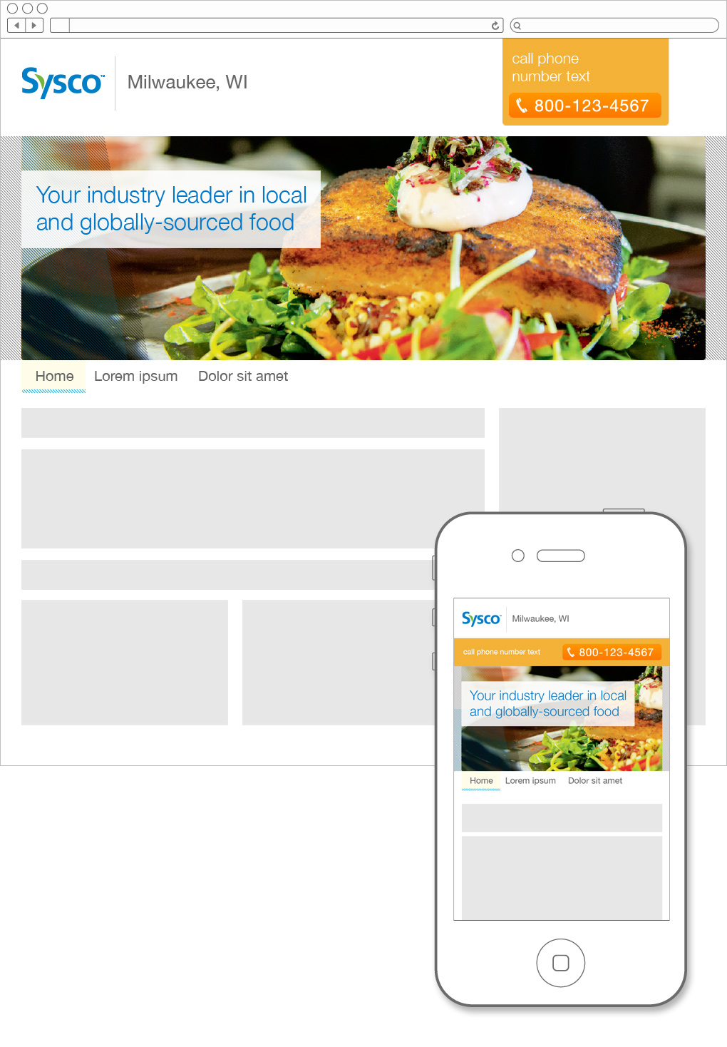 Sysco desktop and mobile website concepts